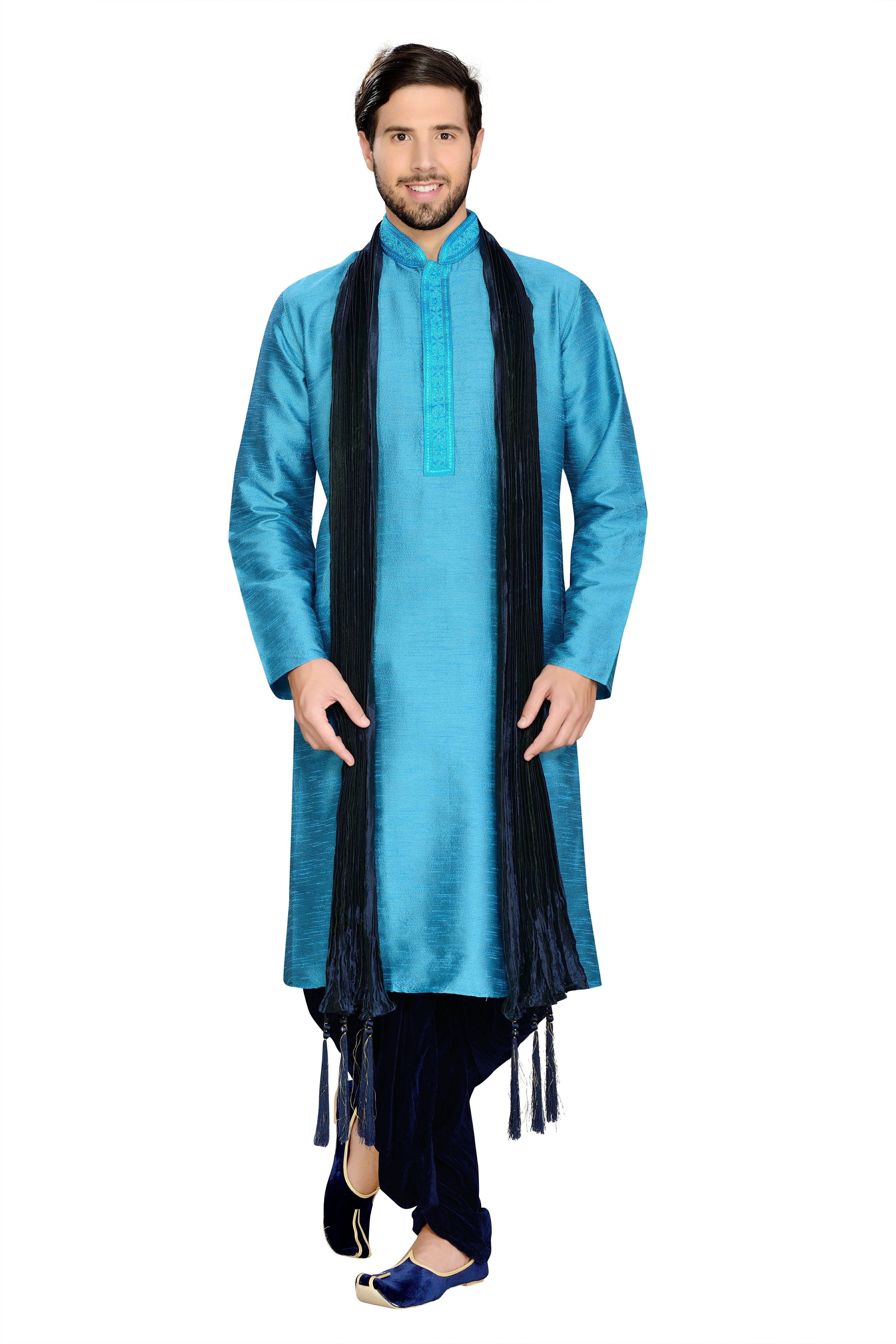 23787bd2a0 Manyavar Classic Blue Kurta | Indian Men's wear | Classic, Indian ...