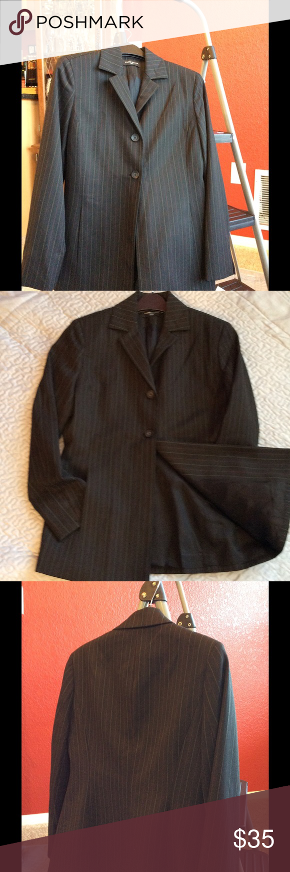 Size 4p Valerie Stevens blazer. Just marked down Valarie Stevens black with thin tan and red stripes.  New with tags. Two button with side pockets. 49% polyester 49% viscose 2% elasthane. RN13711. Valerie Stevens Jackets & Coats Blazers