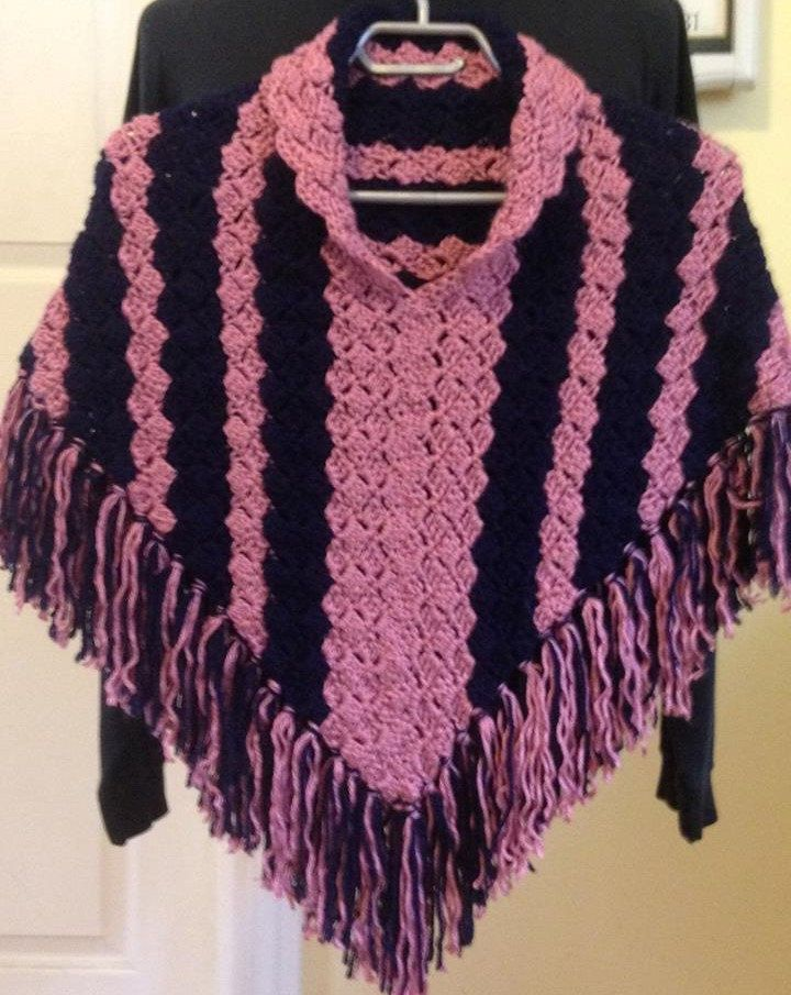 Crochet Poncho Child Poncho With Collar And Fringe In Pink And Navy