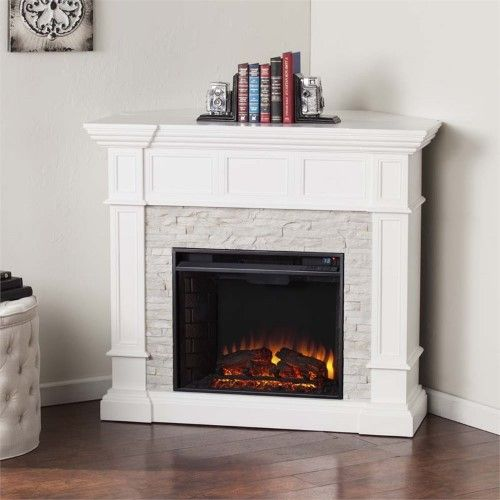 Bowery Hill Corner Electric Fireplace In White Stone Electric