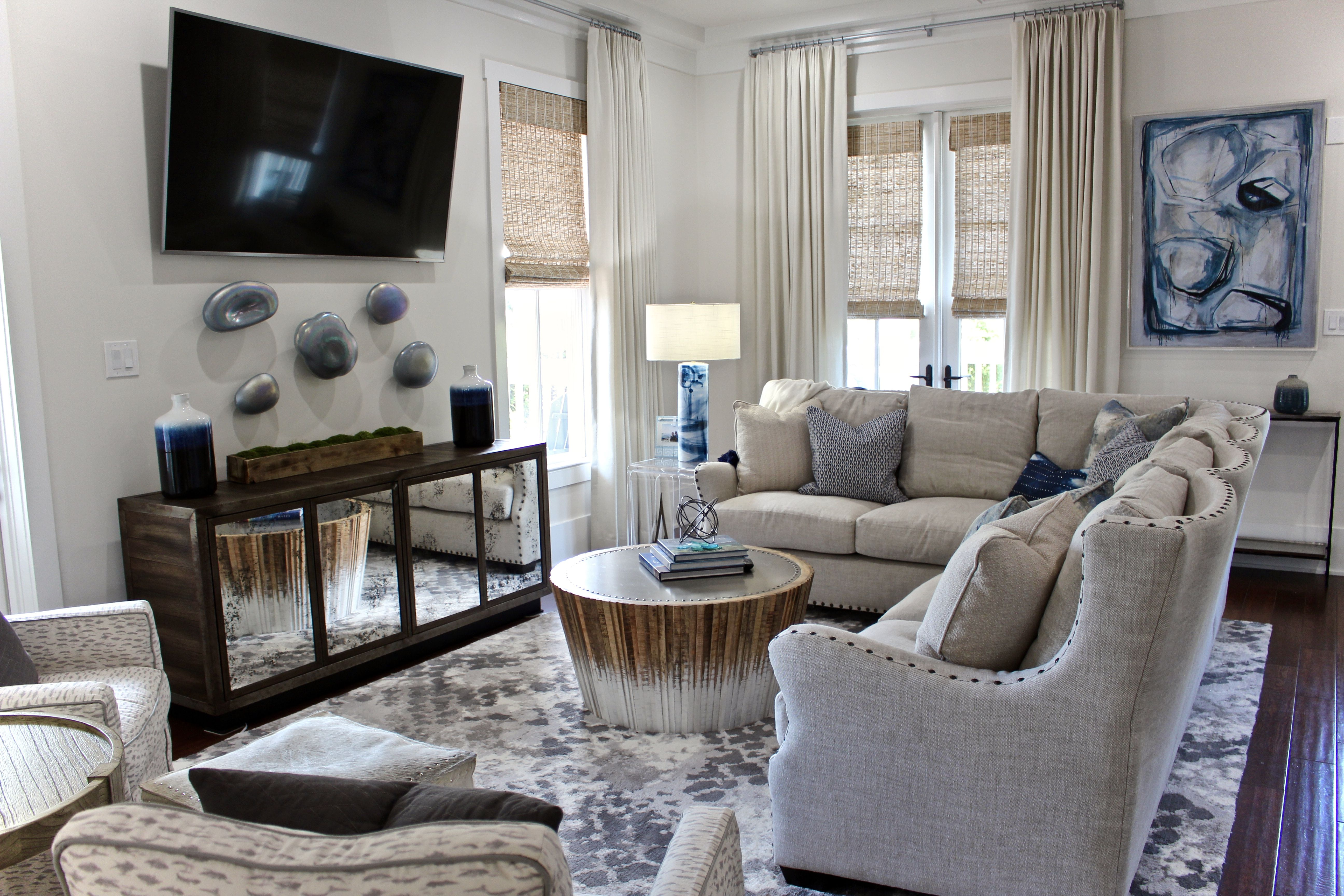 watercolor florida coastal design, navy blue living room ...