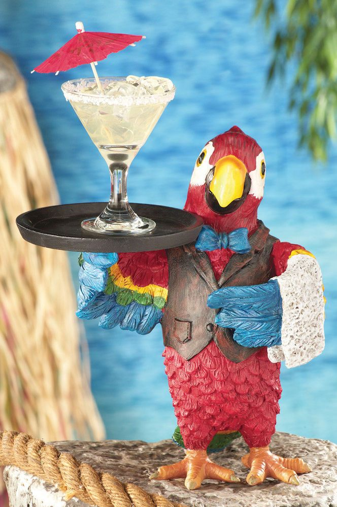 Tropical Party Parrot Table Bar Server Outdoor Figurine