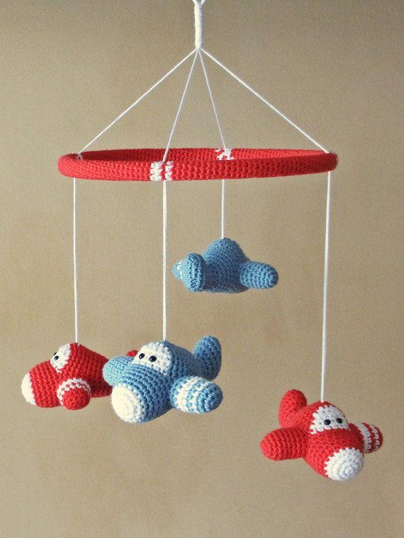 Airplane baby mobile - organic cotton - crochet airplane mobile ...