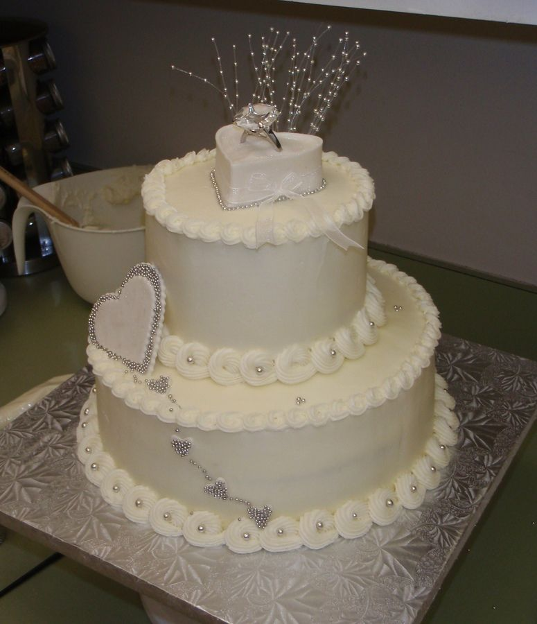 shabby chic bridal shower cakes%0A bridal shower cakes   tier engagement cake  Yellow cake w  whipped cream  filling and