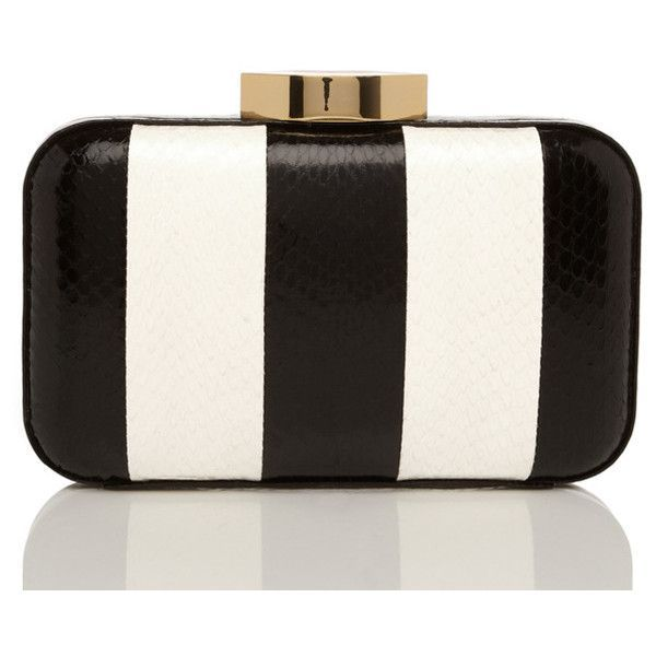 Black And White Stripe Snakeskin Fifi Clutch