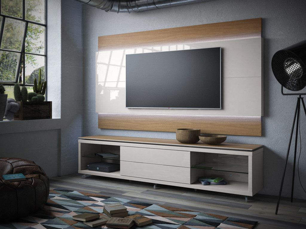 Lincoln Floating Wall Tv Panel 1 9 With Led Lights In Maple Cream  # Muebles Fiasini