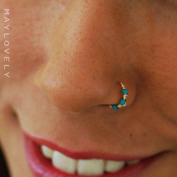 Silver Nose Ring Thin Nose Ring 24 22 20 Gauge Nose Ring 14k