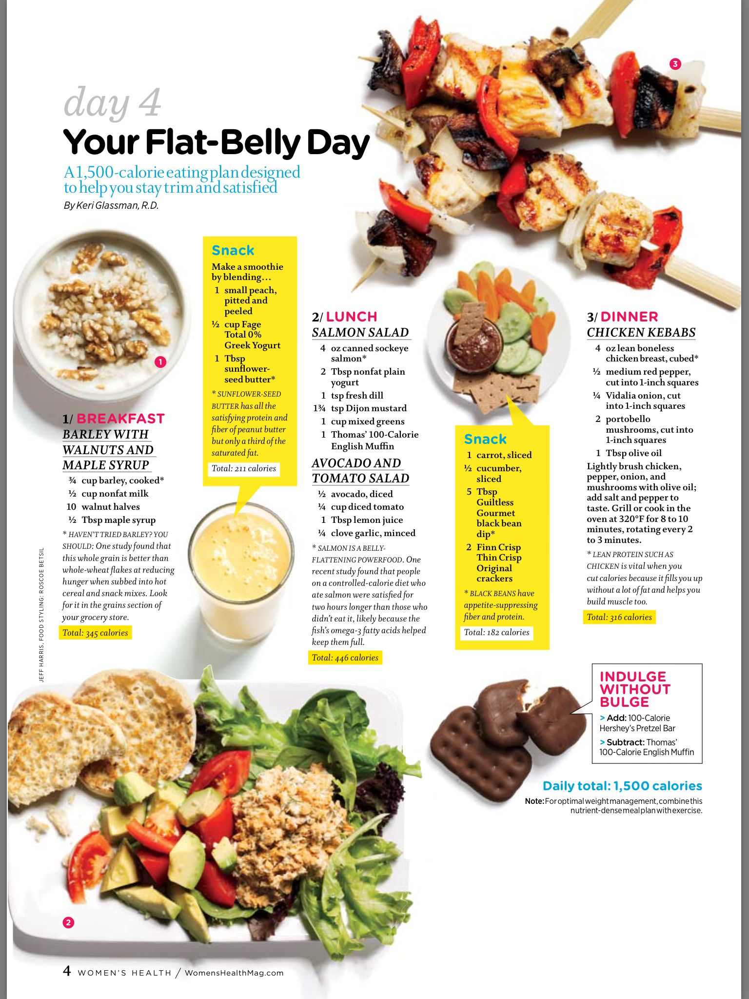 4 Day Diet Plans: Flat Belly Foods, 1500 Calorie Meal