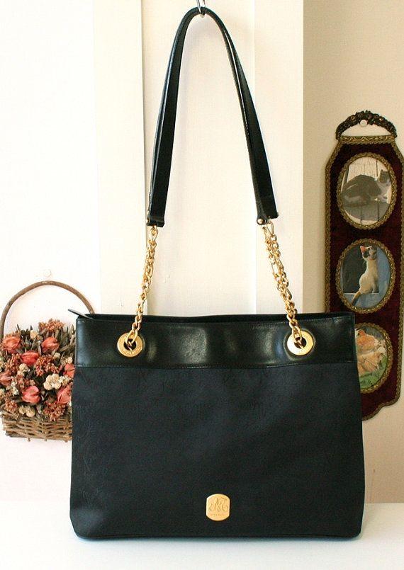 Nina Ricci Jacquard with Leather Chain Shoulder bag Large