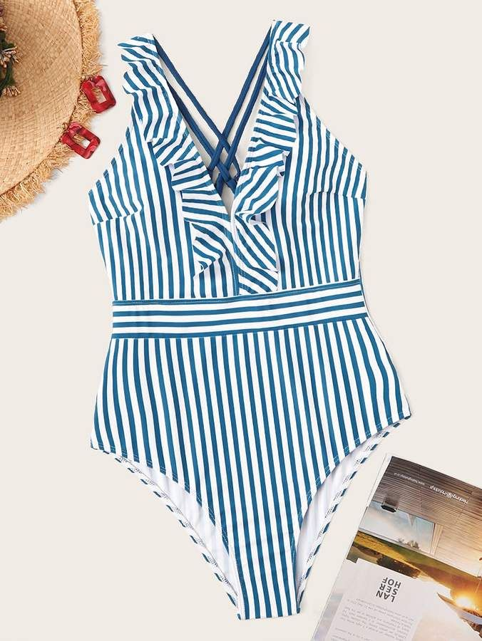 58dd09bb8a Shein Striped Criss-cross Ruffle One Piece Swimsuit in 2019 ...