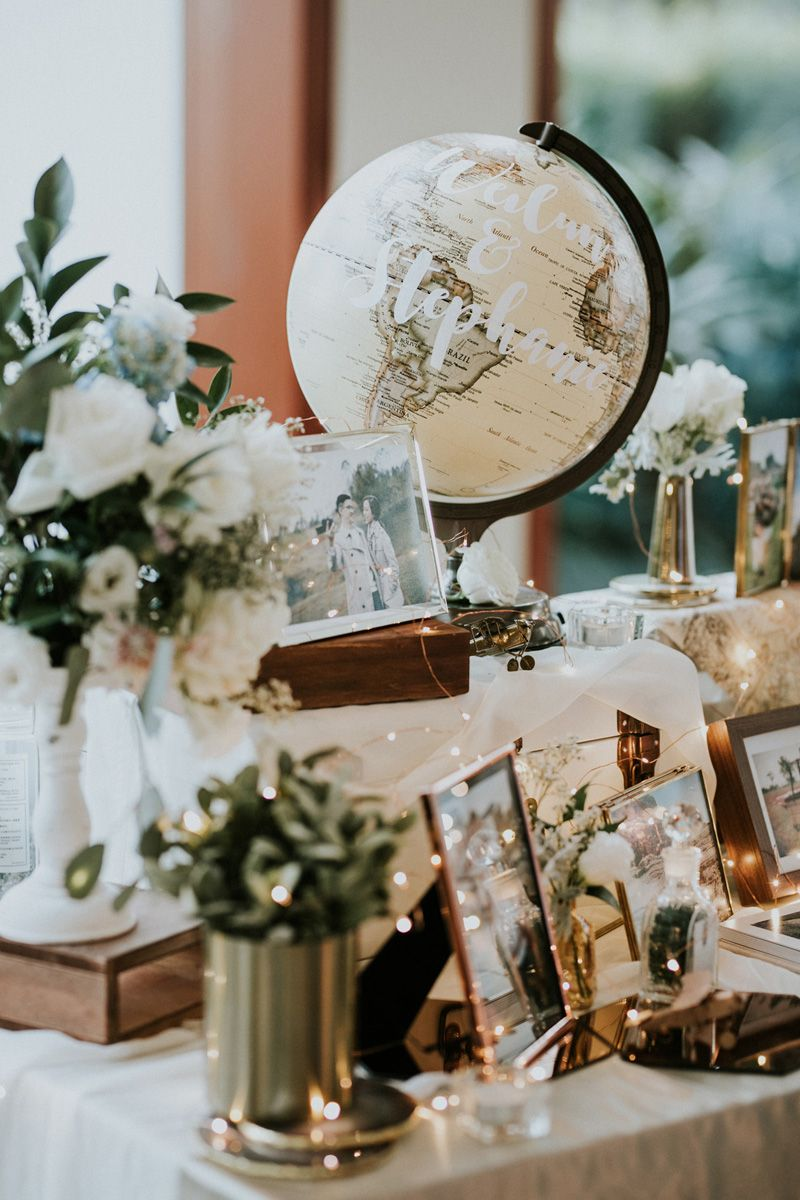 Latest wedding decorations 2018  Steph and Weilunus TravelThemed Capella Singapore Wedding in