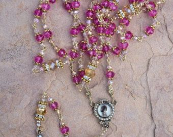 Handmade Rosary unique Dark Red and Gold crystal by OurLadysGift