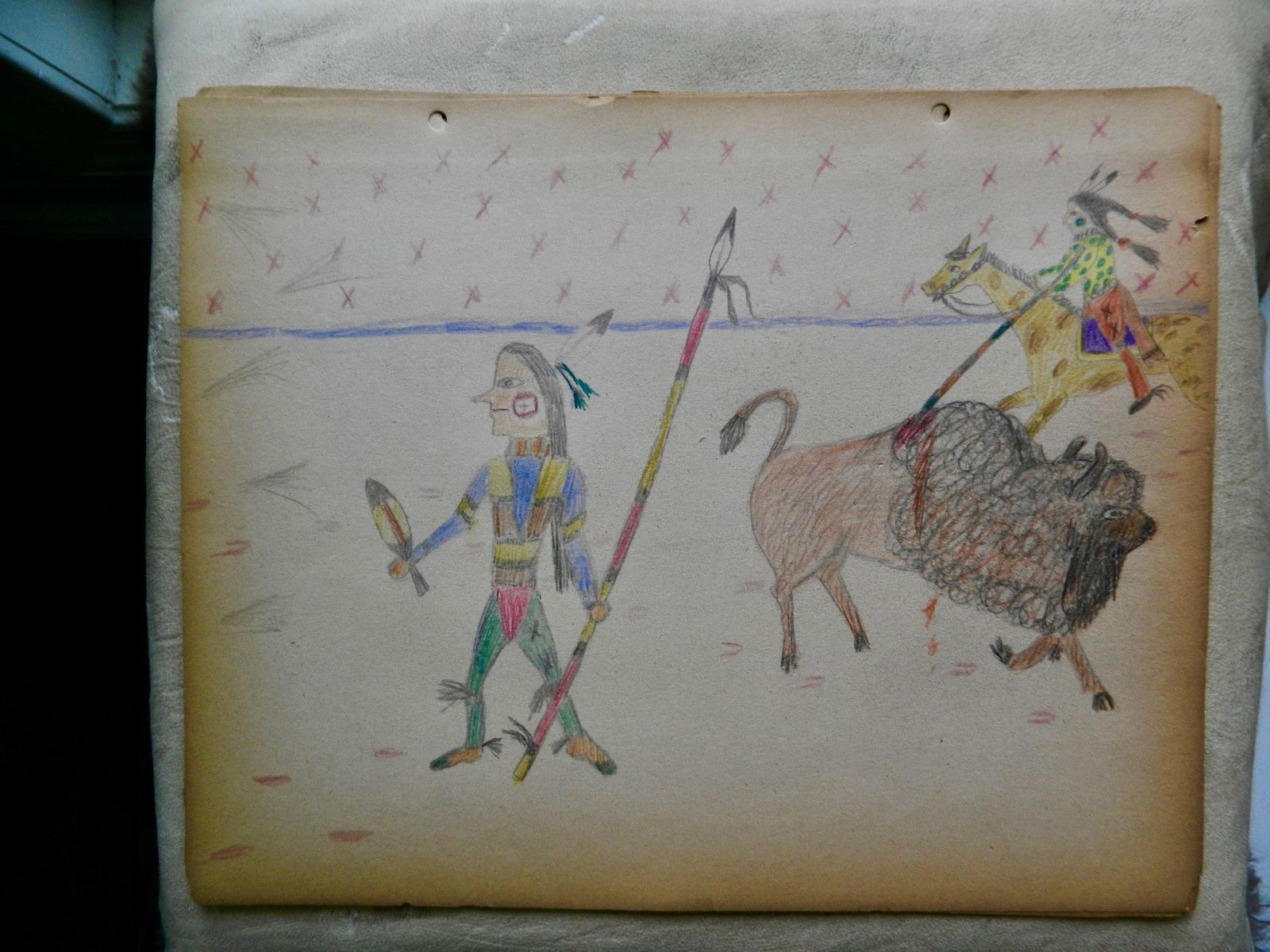 possible Kiowa ledger drawing