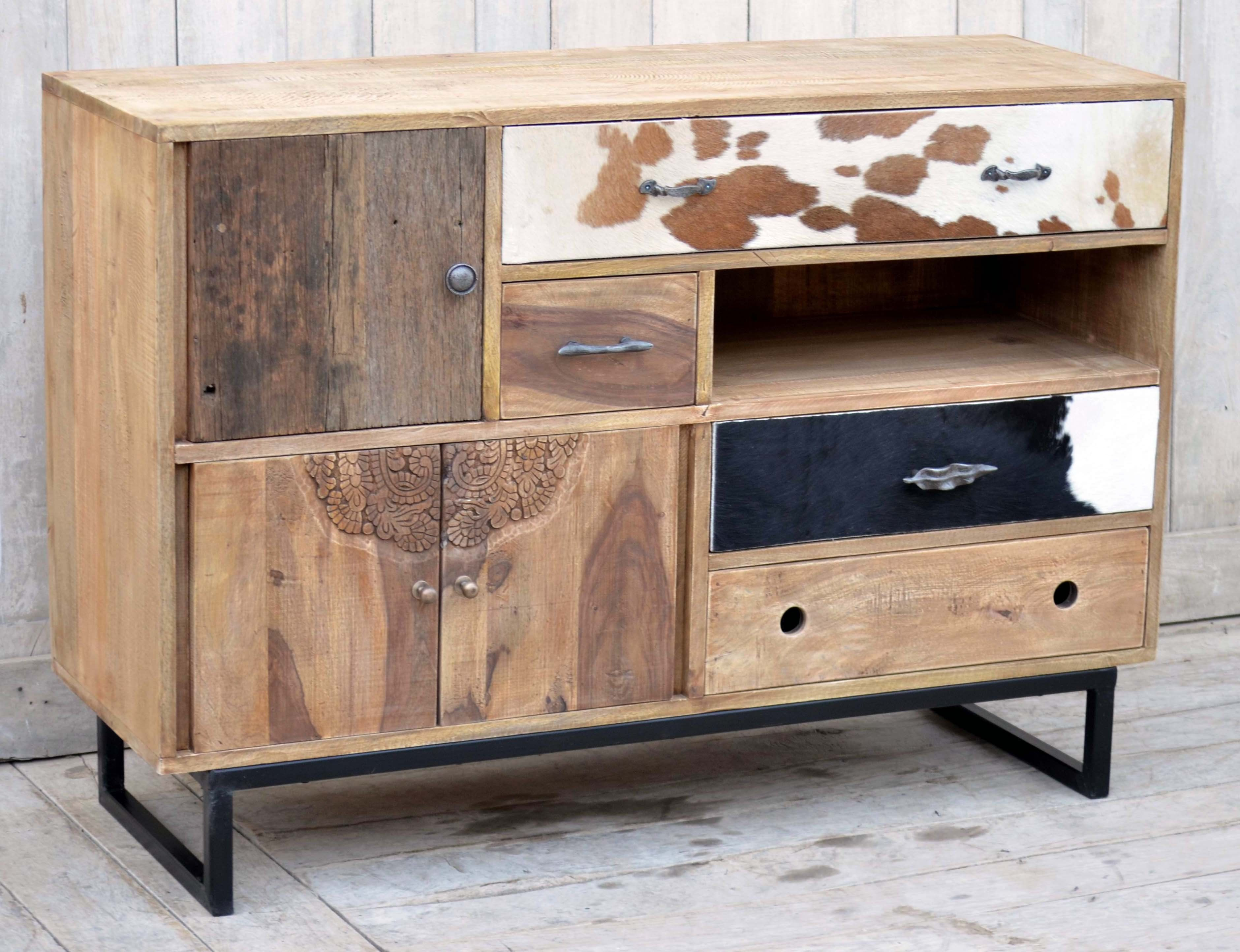 Hardwood Chest Of Draws With Cow Pattern And Hand Carved Bedroom