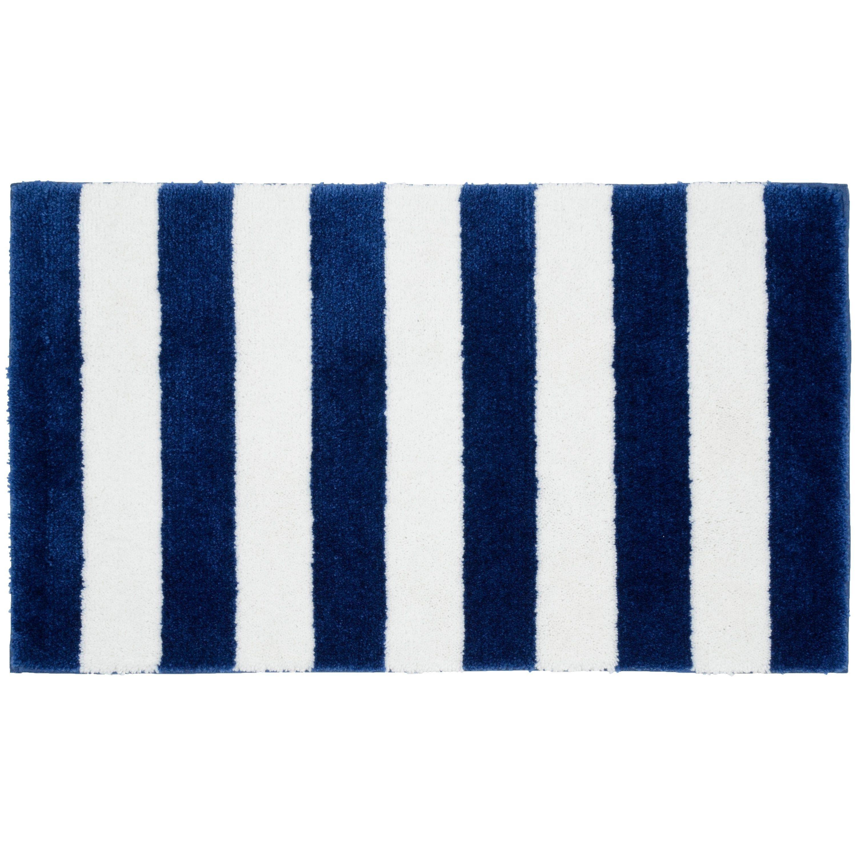 Beach Stripe Indigo Blue White Washable Bath Rug 21 X 340 As