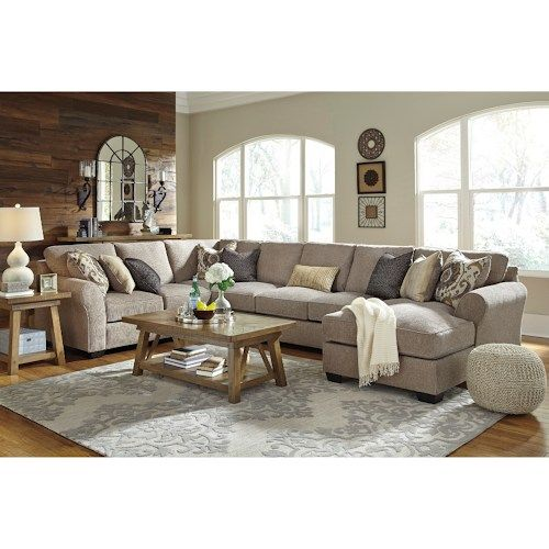 Pantomine 4-Piece Sectional with Right Chaise & Armless Sofa by Ashley