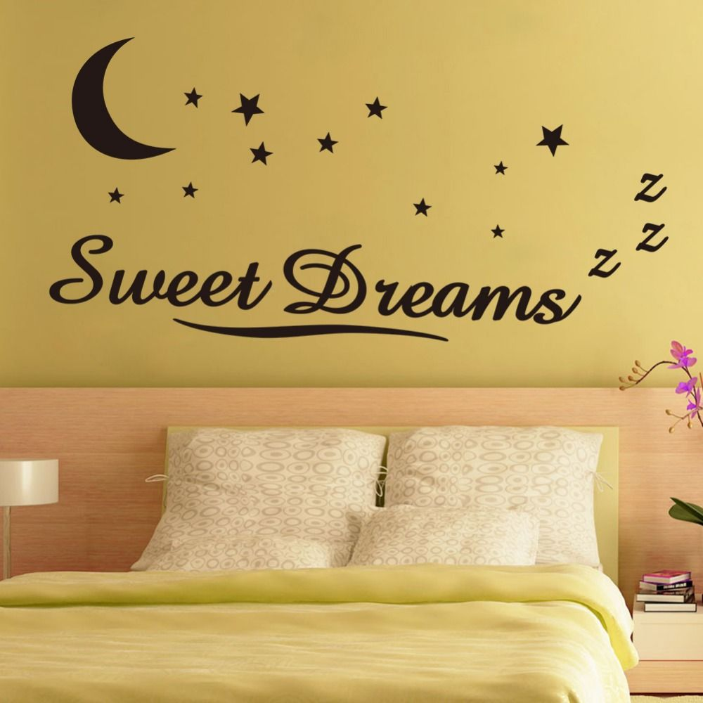 Wall Sticker Letters Sweet Dreams Moon Stars Quote Wall Decor For Bedroom  Removable Vinyl Wall Sticker
