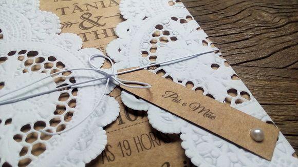 Convite de Casamento Kraft(200g) e Renda