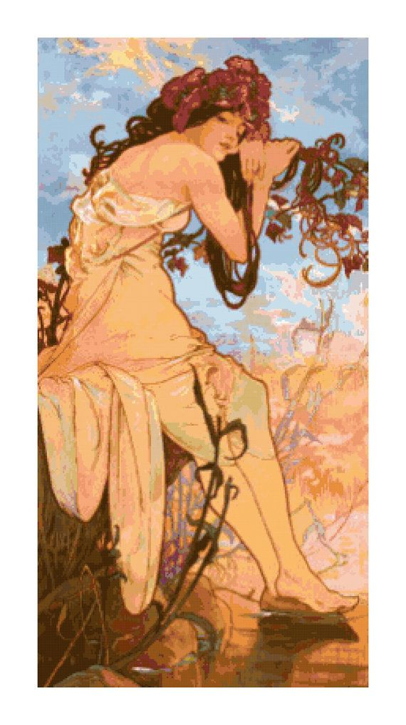 Mucha Summer Fine Art Handmade Pdf Cross Stitch Pattern In