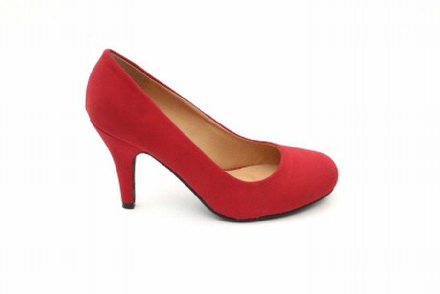 ESCARPINS RETRO ROUGES FACON DAIM BOUT ROND TRAVESTI TALON 9 CM 43 A 45 - Chaussures/Escarpins - travestishop