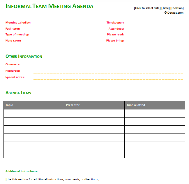 Agenda Sample Format Impressive Informal Meeting Agenda Template With Basic Format  Rzeczy Do .