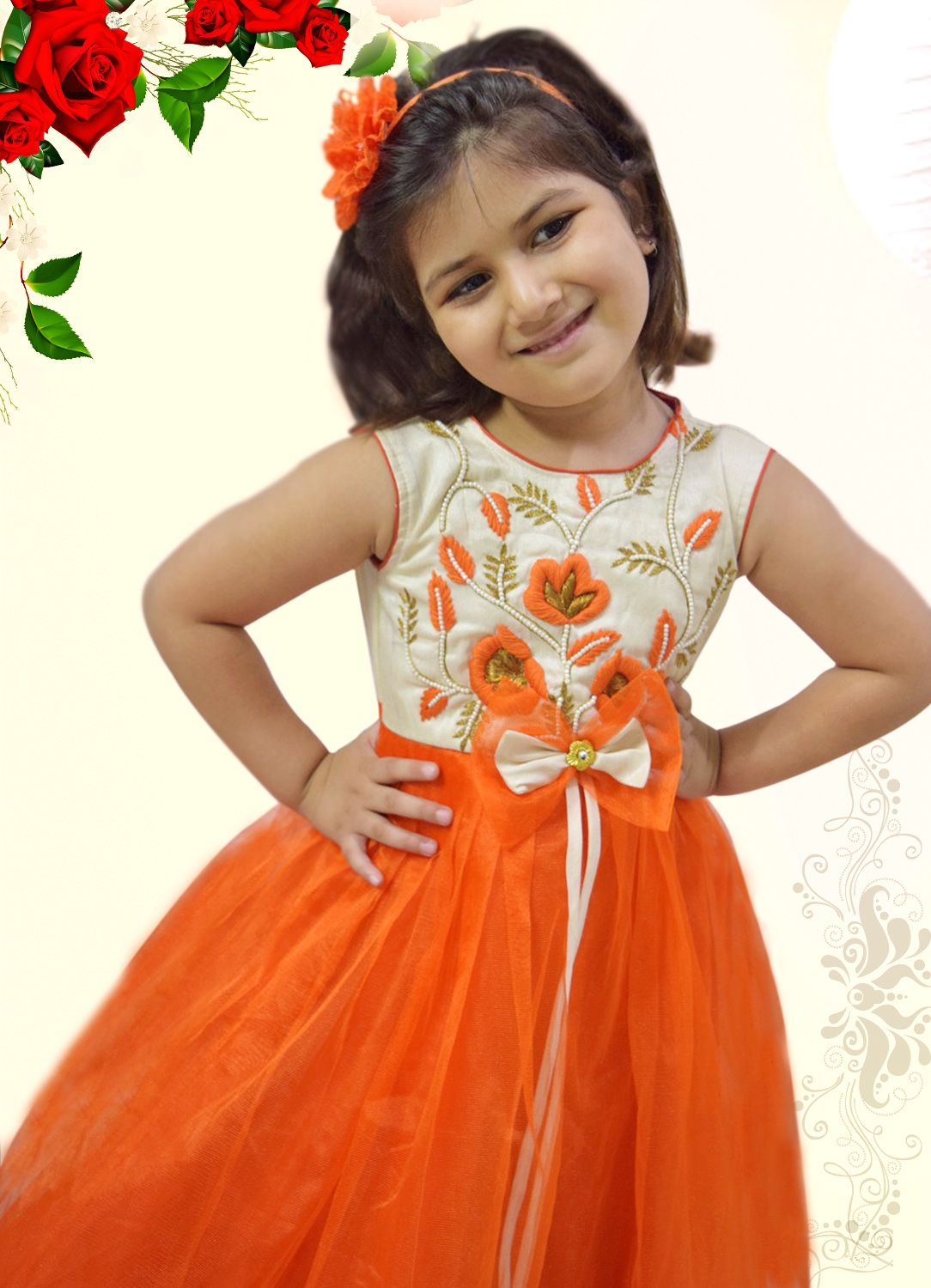 Smart Party Wear Orange and White Designer Luxury Dress for Girls