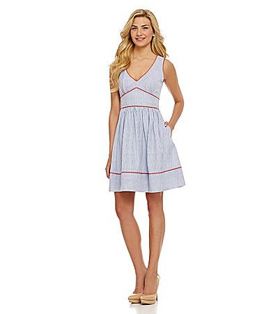 dcab756ec6 Jessica Simpson Piped Seersucker Fit and Flare Dress at Dillards ...