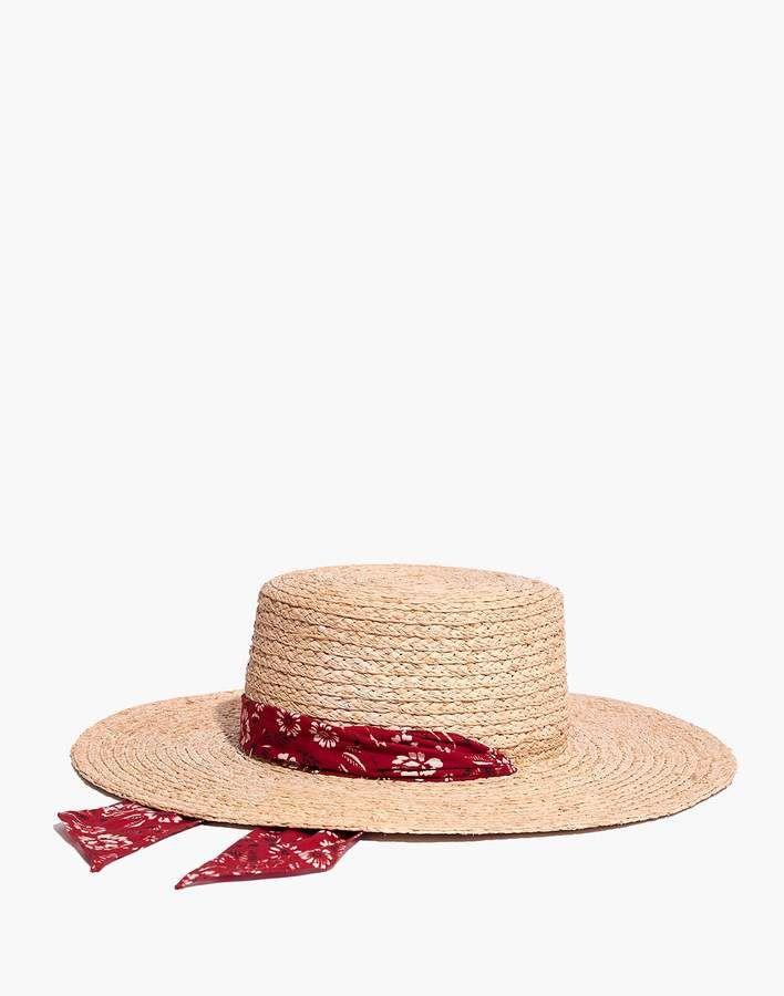 c9eae1a5c9a Madewell Bandana Straw Hat Hat Hairstyles