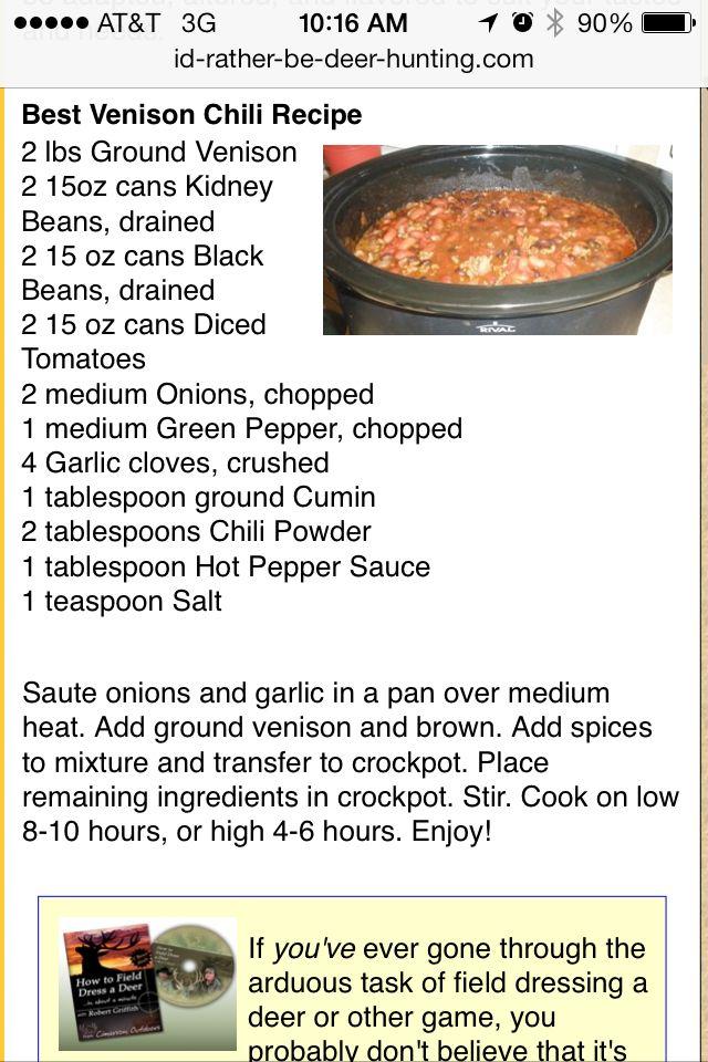 Simple And Easy Deer Chili Macros Serves 8 C 45g F 4g P 48g Venison Recipes Deer Recipes Venison Chili Recipe