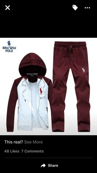 b77044565827 jumpsuit burgundy chocolate red polo jacket polo jumpsuit polo shirt custom  customize jacket pants sweatpants sweat sweats zip-up zip up jacket red  polo ...