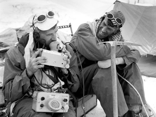 Sir Edmund Hillary (at right) and George Lowe. Photograph by Alfred Gregory Royal Geographic Society & Everest Climbing Gearu2014Then and Now | Mount everest Nepal and Tibet