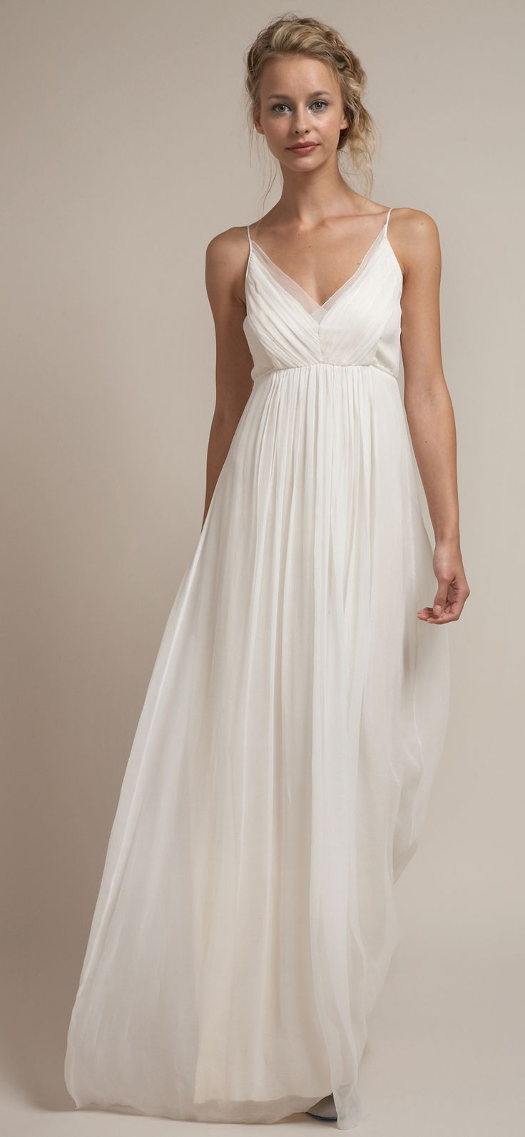 Casual Chiffon Beach Wedding Dress With Spaghetti Strap Front For