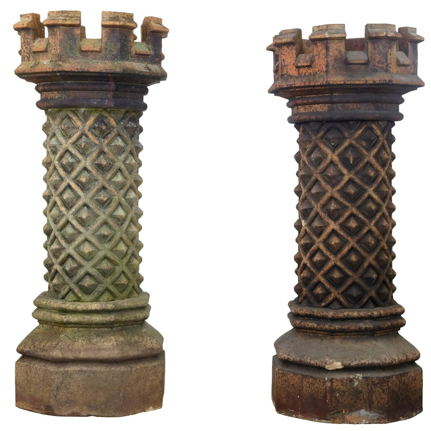 near pair of victorian gothic large chimney pots victorian