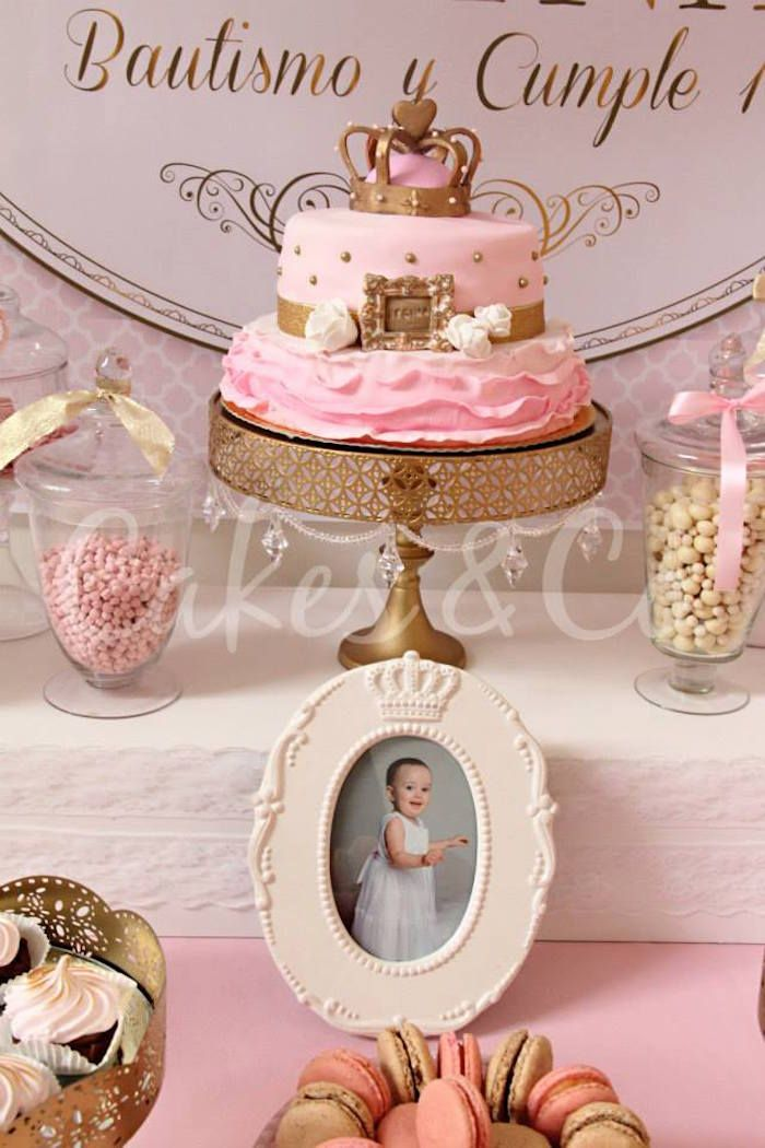 Pink Gold Princess First Birthday Party Gold fondant Birthdays