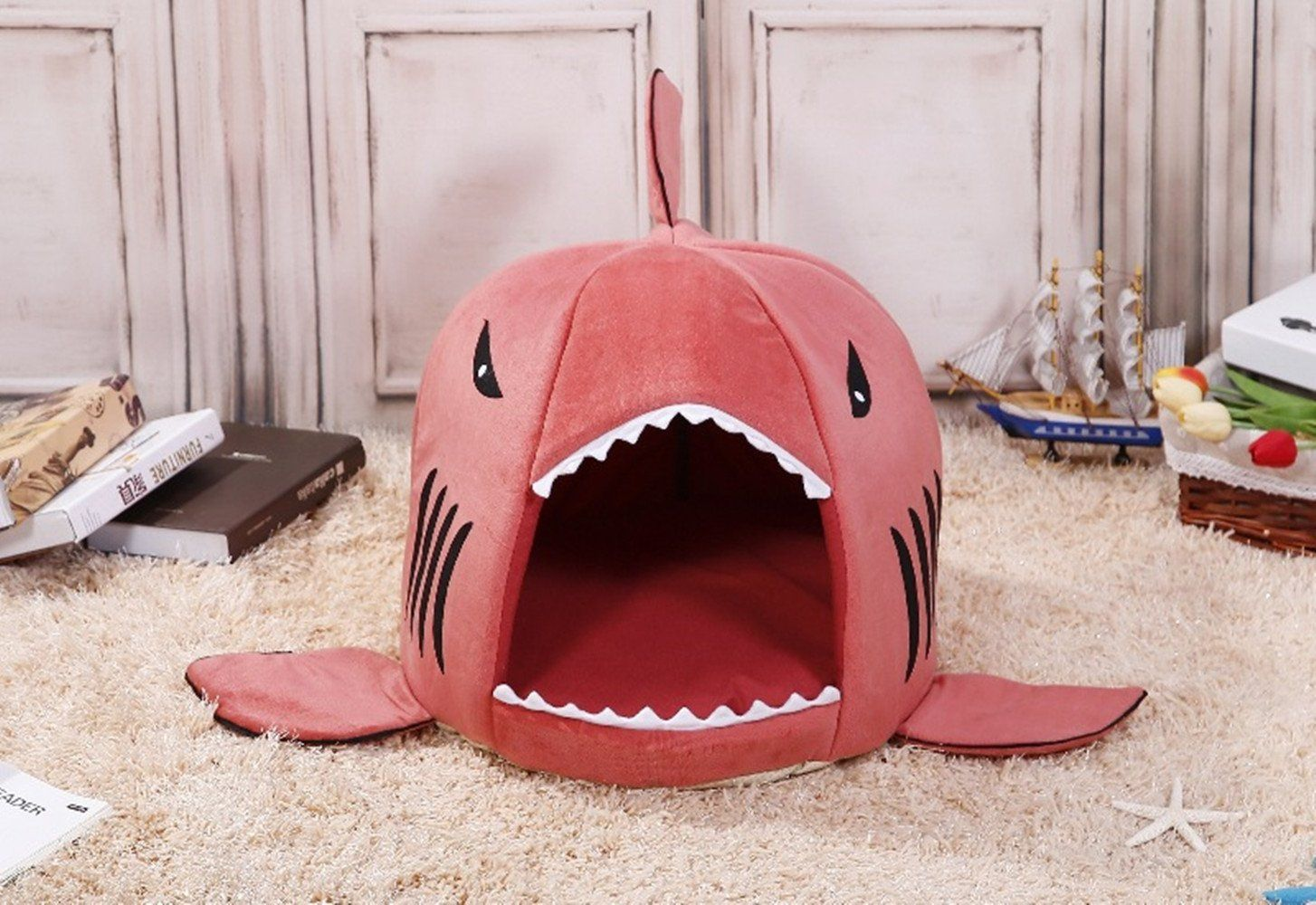 COCOPET Shark Bed for Small Cat Dog Cave Cozy Bed