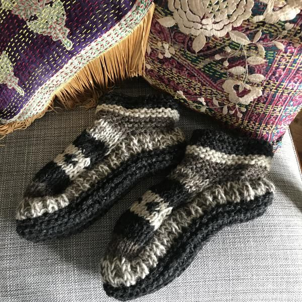 Photo of Lisa Taylor Thea Hand Knitted Wool Slippers – Trouva