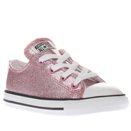a1e2c0d6e85b Girls Pink Converse All Star Ox Glitter Toddler Trainers