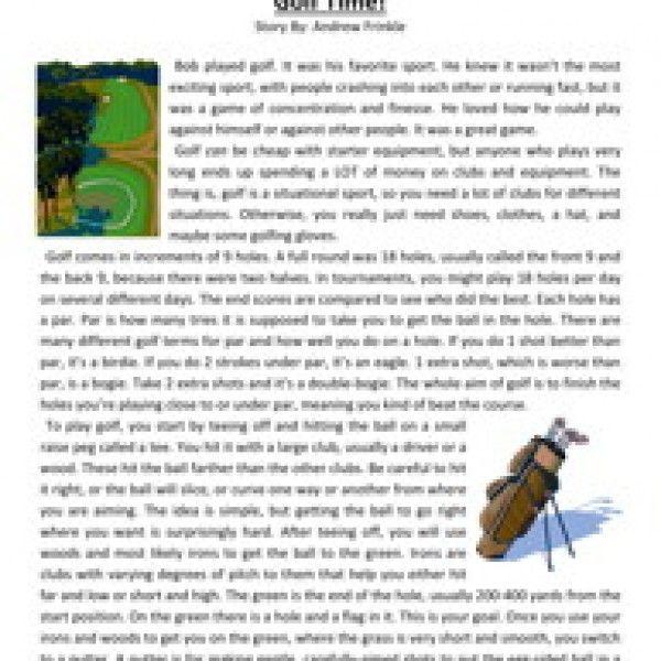 Golf Time Fifth Grade Reading Comprehension Worksheet