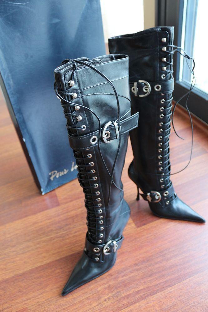 gianmarco lorenzi black leather high boots us 7 5 it37 5 uk5 5 over rh pinterest com