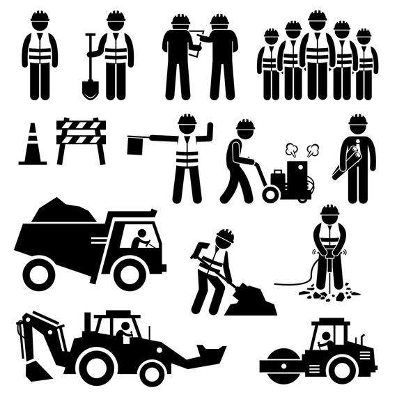Road Construction Worker Engineer Plan Cone Barriers Truck Etsy Pictogram Stick Figures Road Construction