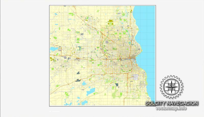 Milwaukee, Wisconsin, US printable vector street City Plan map, full ...