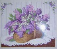 Lilac basket - free cross stitch pattern