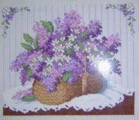 Lilac basket - free cross stitch pattern