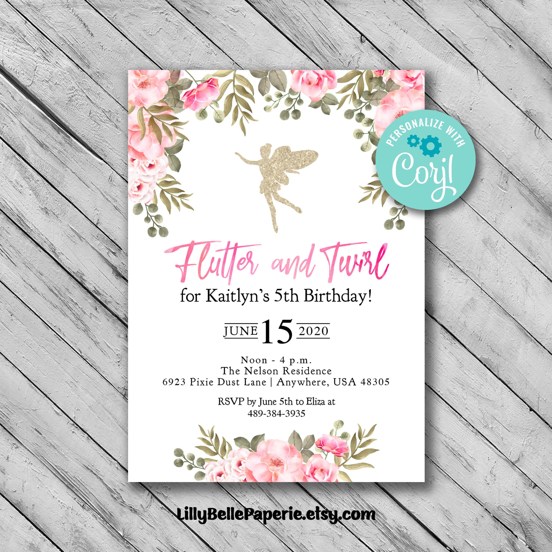 Editable Fairy Garden Birthday Invitation Template Digital  Etsy