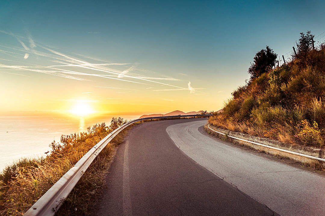 Download coastline sunset road free stock photo sunset