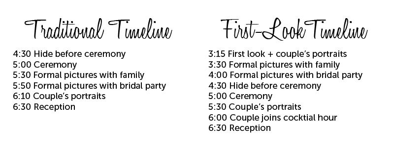 Wedding day timeline, with and without a first look shameless