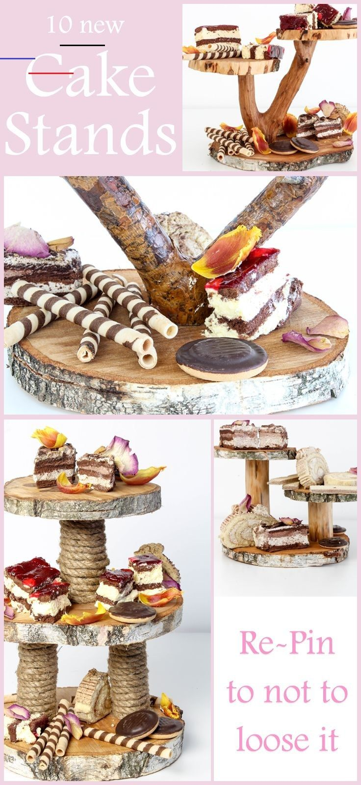 Many wooden cake stands made by hand. Visit website for more photos and inspirations. #wood #cake #cakestand #woodcakestand #decor #serving #sweets #cupcake #cupcakestand #stand #rustic #wooden #design #idea #wedding #weddingcake #weddingcakestand #handmade #vintage #diy #tiered #tieredcakestand #tree #treeslices #slices<br>