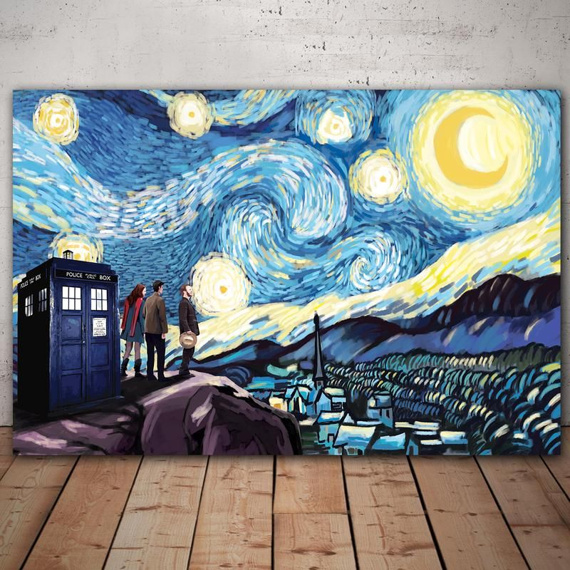Doctor Who Starry Night Framed Canvas Wall Art Trendysweety Starry Night Van Gogh Framed Canvas Wall Art Starry Night