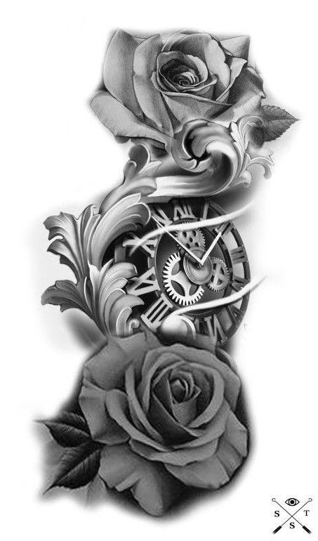 49 Amazing Clock Tattoos Ideas Clock Tattoo Watch Tattoos Rose Tattoo Sleeve