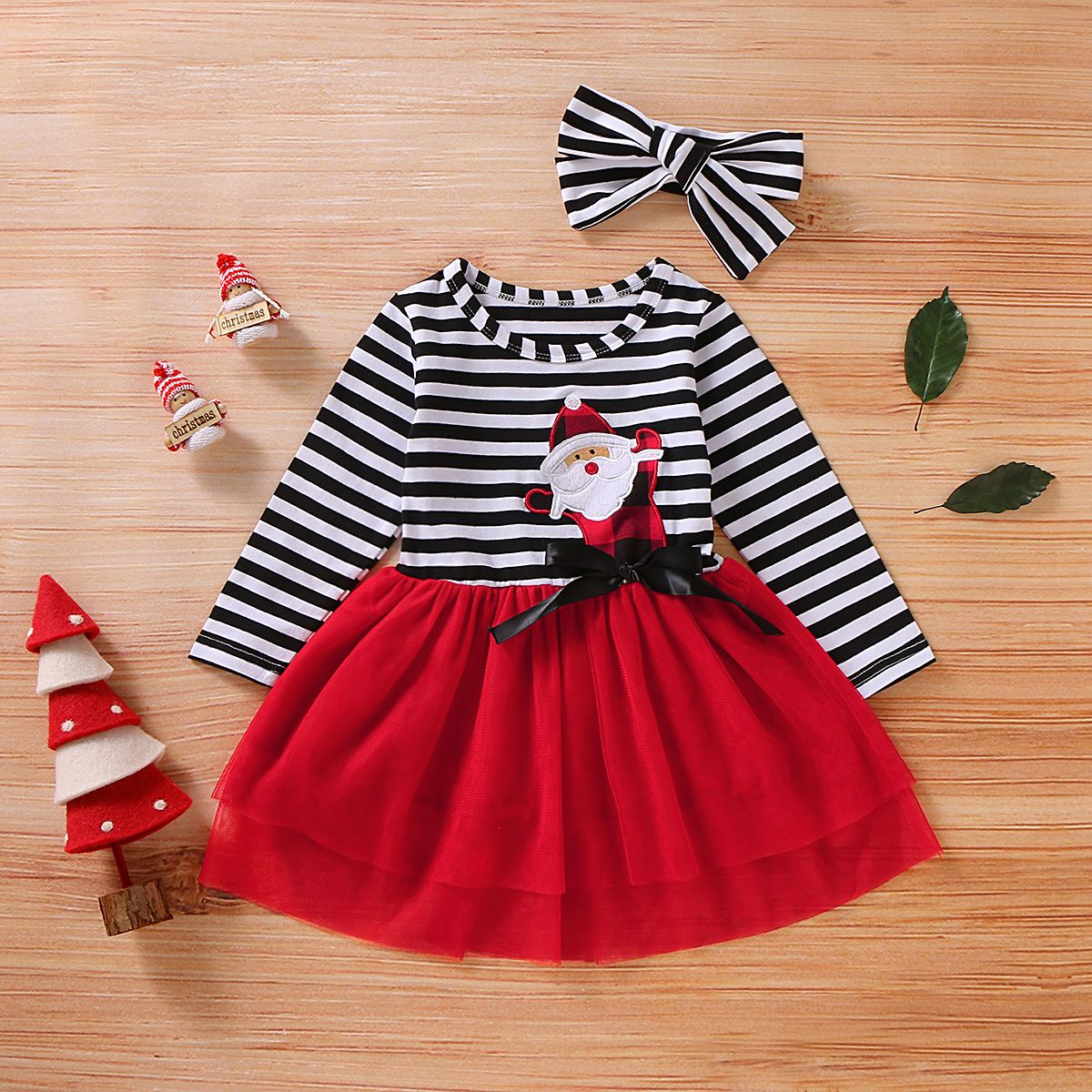 Toddler Baby Girls Cartoon Santa Christmas XMAS Striped Tutu Tulle Dress Outfits